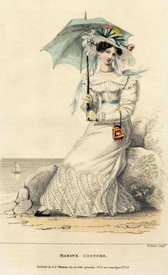 """1826 """"Marine Costume"""" Fashion Plate...  lovely concept our equivalent - shorts or a sarong?"""