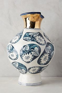 Ruan Hoffmann New Spring collection 2015 for Anthropologie Dreambirds Vase Ceramic Painting, Ceramic Art, Blue And White Vase, Teal Blue, South African Artists, Gold Vases, Egg Designs, Mellow Yellow, Decoration