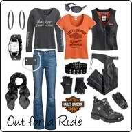 What a great Harley-Davidson inspired look for the biker chick. Harley Davidson Gear, Harley Davidson Merchandise, Harley Gear, Harley Boots, Lady Biker, Biker Girl, Rockabilly Moda, Biker Chick Style, Biker Wear