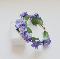 Violet Flower Crown Boho Wedding Silk by blueorchidcreations