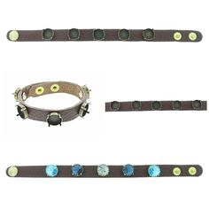 The Branded Leather Line - Classic Leather Bracelet With Five 12mm Rivoli Round Riveted Empty Settings Made In The USA - Las Vegas Rhinestones