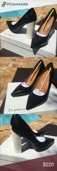 3.1 Phillip Lim Pumps Patent leather. Very light wear patent leather black and beige. 4 inch heel comes with the dust bag and box 3.1 Phillip Lim Shoes Heels