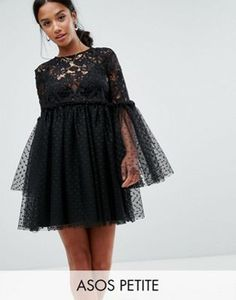 Asos Lace and Dobby Mesh Fluted Sleeve Mini Smock Dress Sheer Sleeve Dress, Sheer Lace Dress, Crochet Lace Dress, Long Sleeve Mini Dress, Mesh Dress, Mesh Skirt, Sleeve Dresses, Lace Dresses, Mini Dresses