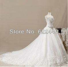 2014  Luxurious Crystal Sweetheart Elegant  Applique Organza  A-Line Wedding Dresses Free Shipping