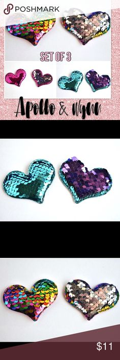 """Reversible Sequin Heart Snap Clip Set Sequin Snap Hair Clip Set  This listing is for a set of three heart sequin snap hair clips. Clips are made from premium sequin fabric. Set includes: rainbow to silver, teal to purple, and hot pink to silver.  Sequin clips are approx. 2.25""""  All bows are handmade by me. Price is firm. Apollo & Wynn Accessories Hair Accessories"""