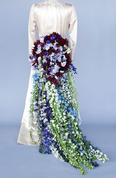 Rebel Rebel wedding dress train design using the delphinium at New Covent Garden Flower Market during British Flowers Week 2013 by jeannette