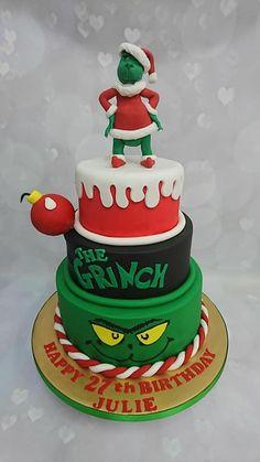 Grinch Christmas - birthday cake Christmas Birthday Cake, Grinch Christmas Party, Grinch Who Stole Christmas, Grinch Party, Christmas Deserts, Christmas Themes, 6th Birthday Cakes For Boys, 3rd Birthday, Christmas Sugar Cookies