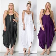 New plus size oversized harem drape jumpsuit boho Brand new without tags. The color may vary brighter / lighter than the actual product. Fabric Content : rayon + spandex  Trendy plus size Rompers exotic prints to choose from. 1) Stripes print 2) Aztec/geo print . 3) Solid white. 4)solid black.(sold out) 5)solid Purple, 6)Solid Charcoal. Oversized Loose fit drape harem Romper jumpsuit. Boutique Dresses