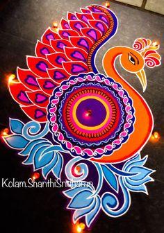 51 Diwali Rangoli Designs Simple and Beautiful - SMITA - HotelsPedi Rangoli Designs Peacock, Rangoli Designs Latest, Simple Rangoli Designs Images, Rangoli Border Designs, Colorful Rangoli Designs, Rangoli Designs Diwali, Diwali Rangoli, Beautiful Rangoli Designs, Kolam Designs