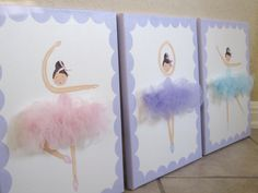 La Ballerinas (set of 3) 11x14. Lavender, Pink, Ice Blue, MADE TO ORDER. $120.00, via Etsy.