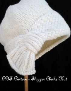 PDF Pattern Women Knit Cloche Hat – Flapper Cloche Hat – Knitting patterns, knitting designs, knitting for beginners. Knitting Patterns, Crochet Patterns, Flapper Style, Flapper Hat, Cloche Hat, Knitting Projects, Baby Knitting, Knitted Hats, Knit Crochet