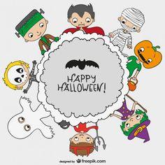 Fondo de feliz Halloween con niños.