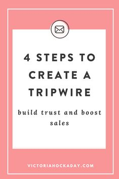 My biggest regret is not having a tripwire sooner but I didn't know WHAT a tripwire was and HOW I could use it to drive revenue. So, in this article I'm sharing 4 tips to create a tripwire, so you can build trust with your audience and boost your sales Marketing Plan, Inbound Marketing, Online Marketing, Digital Marketing, Mobile Marketing, Marketing Strategies, Business Marketing, Content Marketing, Creating Passive Income