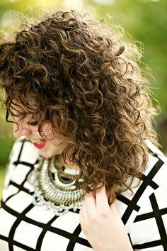 Medium length curly hairstyle idea.   theadoredlife.com