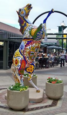 Pretty painted pony outside Coopersmith's Pub & Brewing, Old Town, Fort Collins (CO)