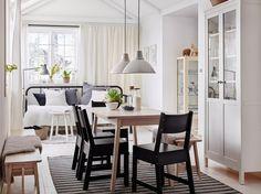 Comedor mediano con una mesa de abedul macizo tintada de blanco, cuatro sillas…