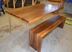 walnut dining table matching waterfall bench by wicked boxcar ...
