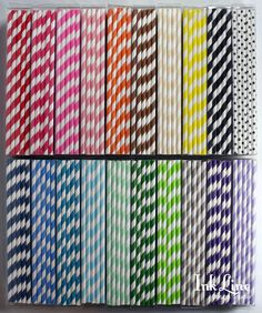100 CHOOSE YOUR COLORS - Striped Paper Straws - Ready to Ship with Free blank printable flags - Stripe, Paper, Wedding, White, Shower. $16.00, via Etsy.