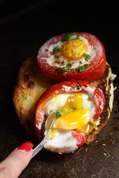 Baked Tomato and Egg Cups We start off with some Roma tomatoes halved. The insides have been scooped out and slice off the bottom of each tomato so they won't roll around in the pan. LizaAmericasHsot.com