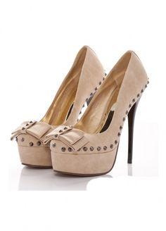 "5 1/5"" High Heel 1 3/5"" Platform Rivets Decoration PU Fashion Shoes High Heels"