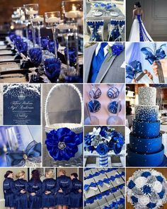 """Royal Blue, White and Silver Weddings is part of Blue wedding decorations - Royal blue for a royal wedding! Nothing quite """"makes a splash"""" like royal blue set against a crisp white background Silver Winter Wedding, White Silver Wedding, Blue Silver Weddings, Silver Wedding Decorations, Blue Wedding Centerpieces, Winter Wedding Colors, Purple Wedding, Sapphire Wedding Theme, Wedding Ideas Royal Blue And Silver"""