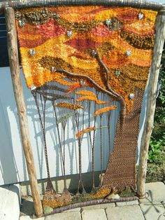Dawn's Lovely Tapestry -- inspired me to start tapestry weaving! Weaving Textiles, Weaving Art, Tapestry Weaving, Loom Weaving, Hand Weaving, Tree Tapestry, Tapestry Wall, Textile Fiber Art, Weaving Projects
