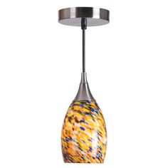 @Overstock - This glass mini pendant lighting fixture will become your new favorite way to light up your dining room, kitchen, or bathroom.  The brushed steel finish gives this pendant texture and complements the beautiful confetti blown-glass  shade.http://www.overstock.com/Home-Garden/Bix-1-light-Mini-Pendant/6822693/product.html?CID=214117 $47.99 - love this for above the kitchen island