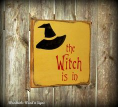Halloween Wood Sign / The Witch Is In / Fall Decor :)
