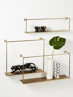 Shop Antiqued Brass Floating Shelves Set of Industrial chic set composes a geometric gallery. Three different dimensions architect an arrangement of your design: Scatter open and airy across the wall or overlap as concentrated grid of right angles. Interior Design Pictures, Interior Design Software, Interior Design Images, Salon Interior Design, Interior Design Magazine, Luxury Homes Interior, Interior Decorating, Interior Design Philippines, Iron Storage