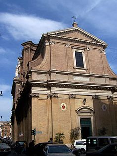 "Sant'Andrea delle Fratte is a 17th-century basilica church in Rome dedicated to St. Andrew.   The current church was built over a pre-existing one, erected in 1192, called infra hortes or between orchards,  whence the name fratte, ""woods"") for it was located in a countryside area. It was the national church of the Scottish people in Rome, until 1585, when Pope Sixtus V assigned it to the Minim friars of Saint Francis of Paola. The interior has a single nave."