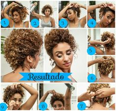 truques de penteados para cabelos crespos Curled Hairstyles, Wedding Hairstyles, Short Curly Updo, Natural Hair Care, Natural Hair Styles, Curls Rock, Curly Hair Tutorial, Pelo Afro, Doll Hair