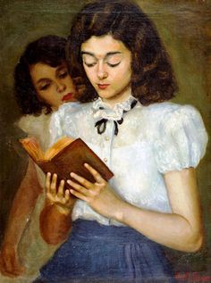 Reading. Anita Fraga (Brazil, active in the twentieth century, after 1930). Oil on canvas. Frage is the sister of the painter Lucília Fraga....