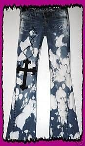 Cross jeans, Hand painted tattoo jeans, bleached ripped destroyed jeans, by True rebel clothing, Distressed boyfriend jeans