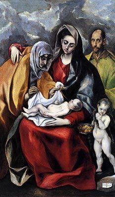 El Greco The Holy Family , 1586 - 1588 Oil on canvas 178 x 105 cm Spanish Painters, Spanish Artists, Catholic Art, Religious Art, Illumination Art, Art Antique, Social Art, Byzantine Art, Holy Family