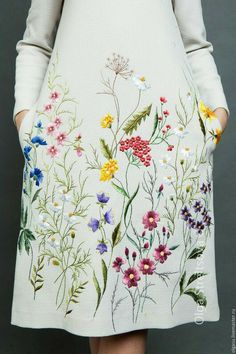 Cross Stitch Embroidery, Flower Embroidery, Embroidery On Clothes, Embroidery Fashion, Silk Ribbon Embroidery, Embroidery Art, Hand Embroidery Patterns, Embroidery Designs, White Embroidered Dress
