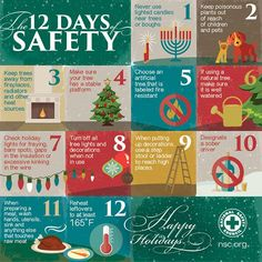 12 Days of Safety by National Safety Council / Good Thinkin' Safety Talk, Fire Safety Tips, Food Safety, Office Safety, Workplace Safety Tips, Work Bulletin Boards, National Safety, Safety Topics, Safety Posters
