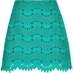River Island Green lace mini skirt (€45) ❤ liked on Polyvore featuring skirts, mini skirts, short mini skirts, lace mini skirt, high-waisted skirts, blue a line skirt and lace skirt