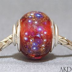 Handmade Big Hole Lampwork Glass Bead With Sterling by AKDlampwork, $32.00