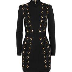 Balmain Lace-up stretch-jersey mini dress found on Polyvore featuring dresses, balmain, zipper dress, eyelet dress, short bodycon dresses, zip dress and bodycon mini dress