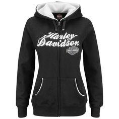 HQ24-H25Z - Harley-Davidson® Womens Bike Loud Black Long Sleeve Hoodie - Barnett Harley-Davidson®