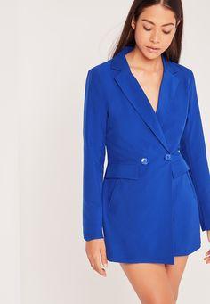 Missguided - Tux Style Blazer Playsuit Cobalt Blue