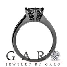 Fancy Black Diamond Solitaire Engagement Ring by JewelryByGaro