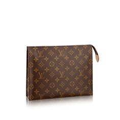 Discover Louis Vuitton Toiletry Pouch 26: The largest of the toiletry pouch in Monogram canvas boasts a spacious interior with gusset sides for easy storage. It slips easily into a handbag.