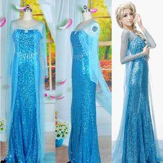 Frozen Elsa Dress Up Gown Adult Costume Ice Queen Princess 4 Size s M L XL | eBay