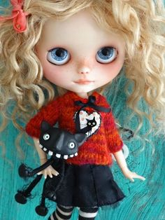 Petite Apple by Marina with a Little Lovelies jumper. Dont you love that cat!! For sale on zibbet.com