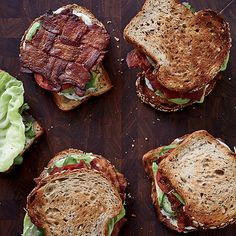 California BLTs | F&W's Justin Chapple makes sure there's bacon in every bite of his BLT by weaving the strips into a lattice before baking them. He adds California style with avocado and lemon-herb mayo.