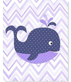 Nautical Nursery Navy and Purple Whale Sea by SweetPeaNurseryArt, $15.00