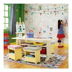 I totally want this wallpaper in the kid's playroom