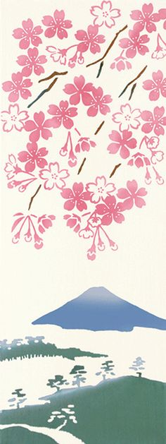 見晴らし桜 Japanese Textiles, Japanese Patterns, Japanese Fabric, Japanese Prints, Japanese Design, Japanese Illustration, Pattern Illustration, Monte Fuji, Art Textile