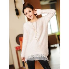 1933c6197a7b5 2017 Spring and winter women sweater new Korean female lace mohair  pullovers long sections loose low round neck clothing 7469